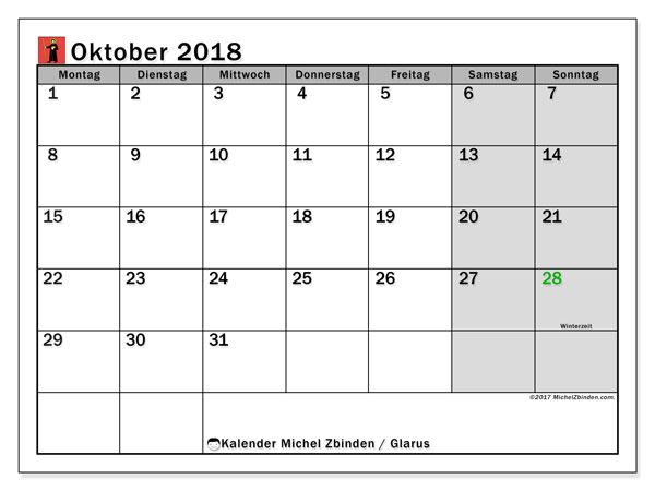 Kalender für Oktober 2018, mit Feiertagen des Kantons Glarus. Kostenlos ausdruckbare Planer.