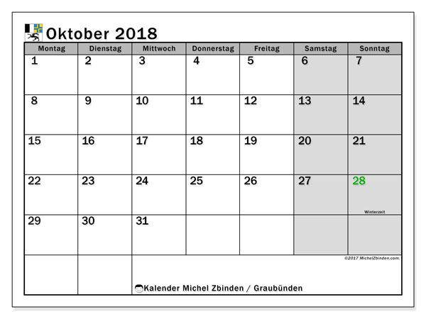 Kalender für Oktober 2018, , mit Feiertagen des Kantons Graubünden. Kostenlos ausdruckbare Kalender.
