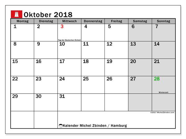 Kalender für Oktober 2018, mit Feiertagen Hamburg. Kostenloser Zeitplan zum ausdrucken.