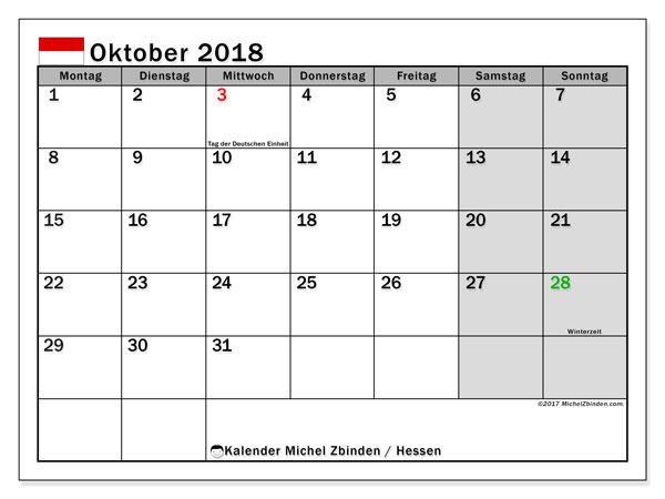 Kalender für Oktober 2018, mit Feiertagen Hessen. Monatlicher Zeitplan zum kostenlosen ausdrucken.