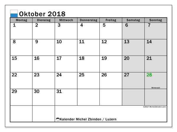 Kalender für Oktober 2018, mit Feiertagen des Kantons Luzern. Kostenlos ausdruckbare Kalender.