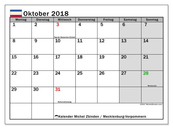 Kalender für Oktober 2018, mit Feiertagen Mecklenburg-Vorpommern. Zeitplan zum kostenlosen ausdrucken.
