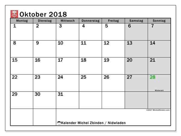 Kalender für Oktober 2018, , mit Feiertagen des Kantons Nidwalden. Kalender für den Monat zum kostenlosen Ausdrucken.
