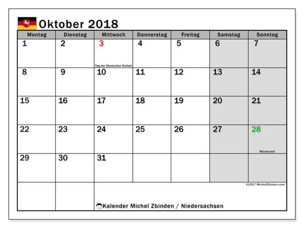 Kalender für Oktober 2018, mit Feiertagen Niedersachsen. Kalender zum kostenlosen ausdrucken.