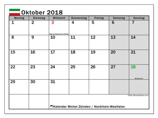 Kalender für Oktober 2018, , mit Feiertagen Nordrhein-Westfalen. Kostenlos ausdruckbare Planer.