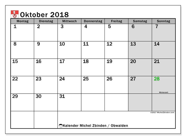 Kalender für Oktober 2018, , mit Feiertagen des Kantons Obwalden. Kostenloser Planer zum ausdrucken.