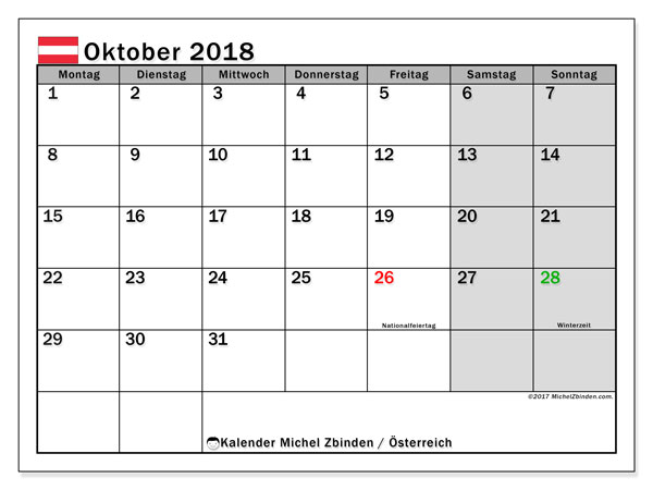 Kalender für Oktober 2018, mit Feiertagen in Österreich. Kostenloser Zeitplan zum ausdrucken.
