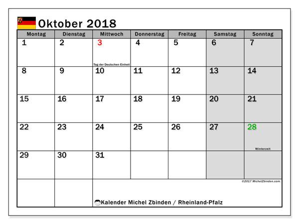 Kalender für Oktober 2018, mit Feiertagen Rheinland-Pfalz. Planer zum kostenlosen ausdrucken.