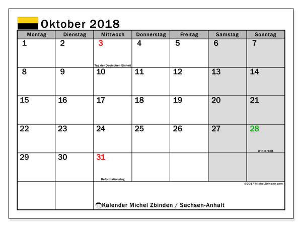 Kalender für Oktober 2018, mit Feiertagen Sachsen-Anhalt. Kostenloser Zeitplan zum ausdrucken.