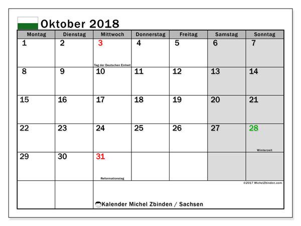 Kalender für Oktober 2018, mit Feiertagen Sachsen. Monatlicher Zeitplan zum kostenlosen ausdrucken.