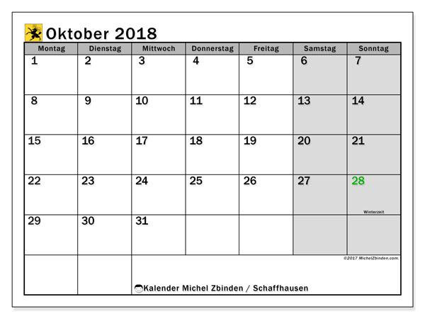 Kalender für Oktober 2018, mit Feiertagen des Kantons Schaffhausen. Kalender zum kostenlosen ausdrucken.