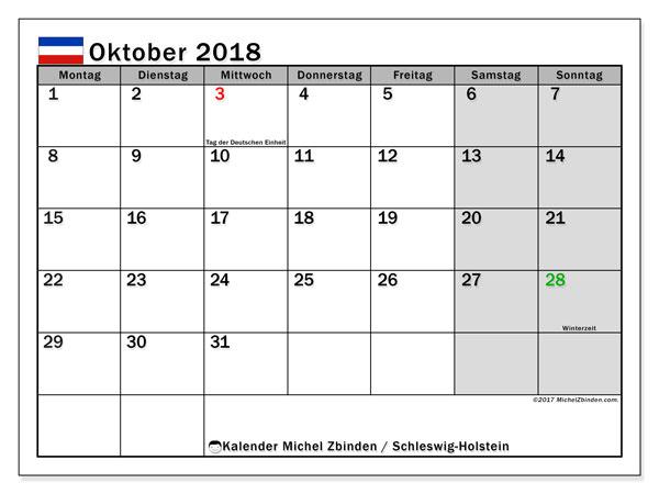 Kalender für Oktober 2018, mit Feiertagen Schleswig-Holstein. Kalender zum kostenlosen ausdrucken.