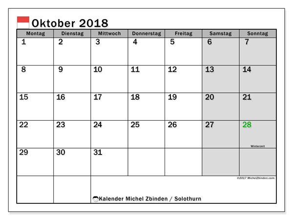 Kalender für Oktober 2018, mit Feiertagen des Kantons Solothurn. Monatlicher Zeitplan zum kostenlosen ausdrucken.