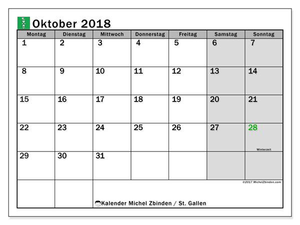 Kalender für Oktober 2018, mit Feiertagen des Kantons St. Gallen. Zeitplan zum kostenlosen ausdrucken.