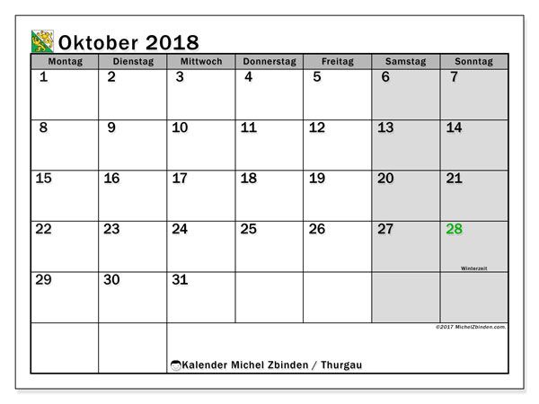Kalender für Oktober 2018, mit Feiertagen des Kantons Thurgau. Kostenlos ausdruckbare Planer.