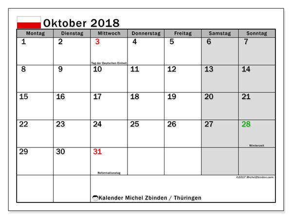 Kalender für Oktober 2018, mit Feiertagen Thüringen. Zeitplan zum kostenlosen ausdrucken.