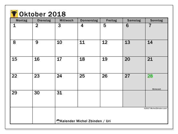 Kalender für Oktober 2018, mit Feiertagen des Kantons Uri. Planer zum kostenlosen ausdrucken.
