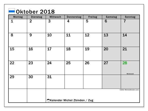 Kalender für Oktober 2018, mit Feiertagen des Kantons Zug. Monatlicher Kalender zum kostenlosen ausdrucken.