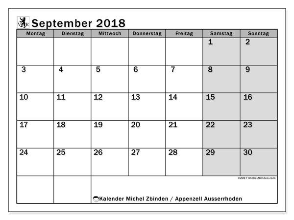 Kalender für September 2018, mit Feiertagen des Kantons Apenzell Ausserrhoden. Zeitplan zum kostenlosen ausdrucken.