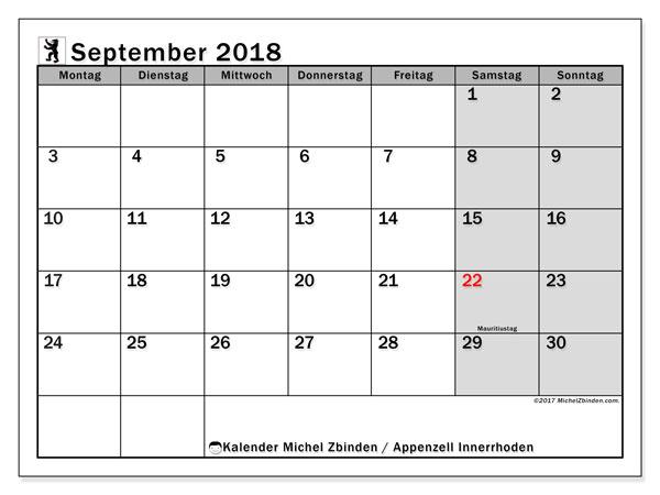 Kalender für September 2018, , mit Feiertagen des Kantons Apenzell Innerrhoden. Monatlicher Kalender zum kostenlosen ausdrucken.
