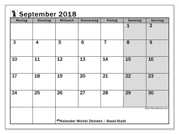 Kalender für September 2018, mit Feiertagen des Kantons Basel Stadt. Monatlicher Zeitplan zum kostenlosen ausdrucken.