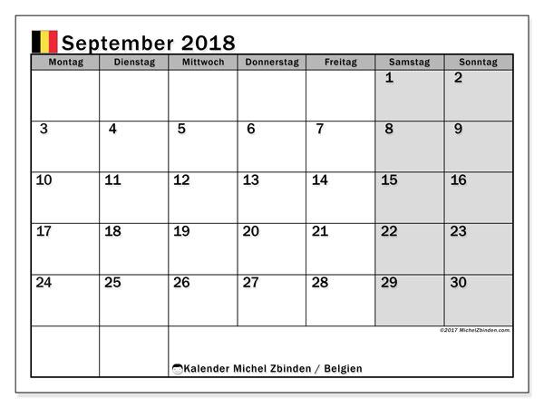 Kalender für September 2018, mit Feiertagen in Belgien. Kostenloser Kalender zum ausdrucken.