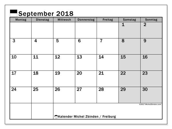 Kalender für September 2018, mit Feiertagen des Kantons Freiburg. Monatlicher Zeitplan zum kostenlosen ausdrucken.