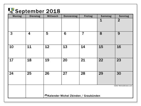Kalender für September 2018, mit Feiertagen des Kantons Graubünden. Kostenlos ausdruckbare Planer.