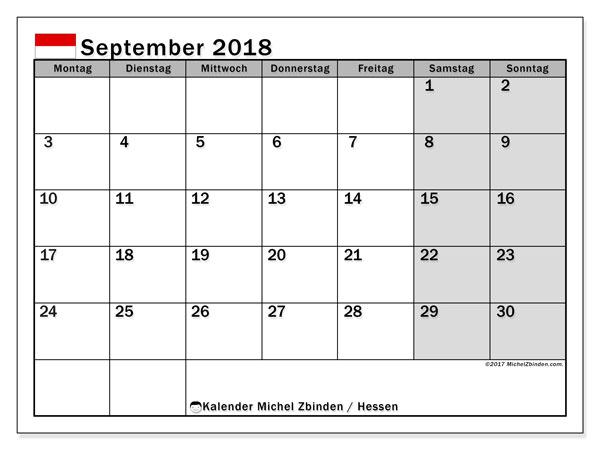 Kalender für September 2018, , mit Feiertagen Hessen. Kostenloser Planer zum ausdrucken.
