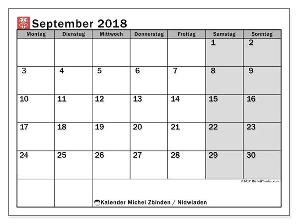 Kalender für September 2018, mit Feiertagen des Kantons Nidwalden. Monatlicher Kalender zum kostenlosen ausdrucken.