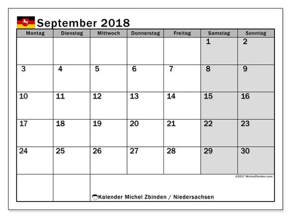Kalender für September 2018, mit Feiertagen Niedersachsen. Monatlicher Kalender zum kostenlosen ausdrucken.