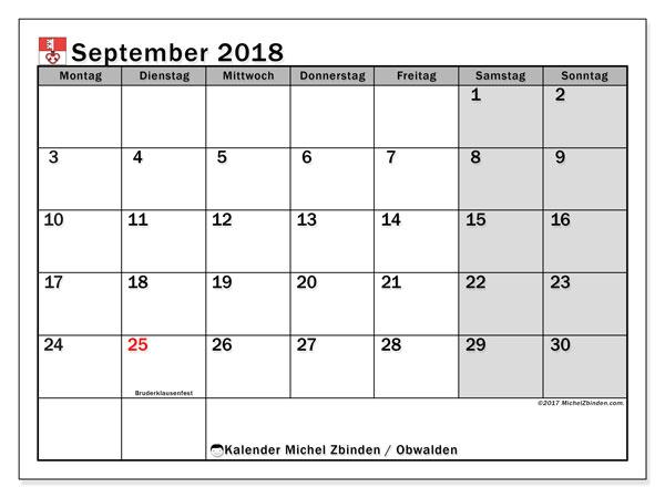 Kalender für September 2018, mit Feiertagen des Kantons Obwalden. Kostenloser Kalender zum ausdrucken.