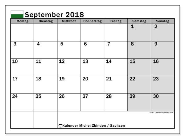 Kalender für September 2018, mit Feiertagen Sachsen. Planer zum kostenlosen ausdrucken.