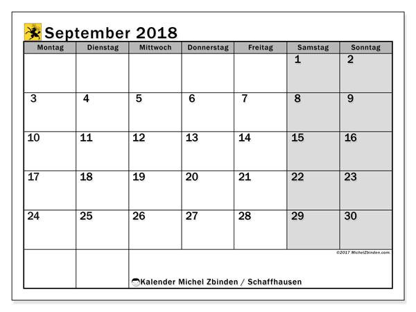 Kalender für September 2018, mit Feiertagen des Kantons Schaffhausen. Kostenloser Zeitplan zum ausdrucken.