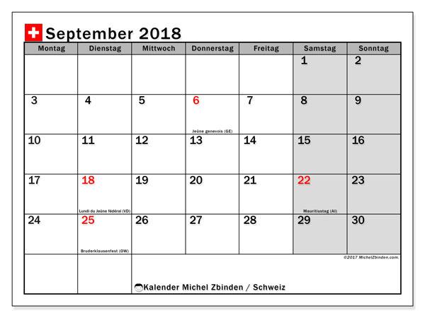 Kalender für September 2018, mit Feiertagen in der Schweiz. Kostenlos ausdruckbare Kalender.