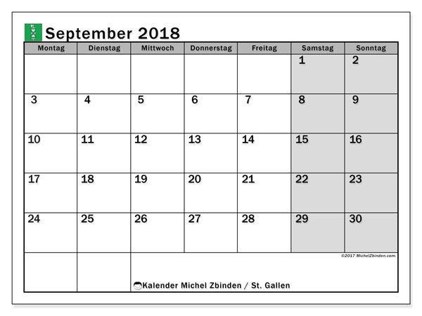 Kalender für September 2018, , mit Feiertagen des Kantons St. Gallen. Zeitplan zum kostenlosen ausdrucken.