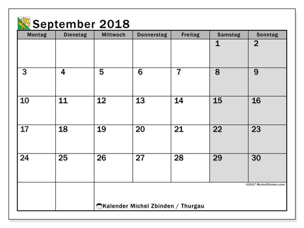 Kalender für September 2018, mit Feiertagen des Kantons Thurgau. Zeitplan zum kostenlosen ausdrucken.