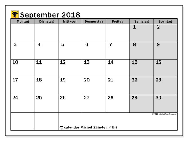 Kalender für September 2018, , mit Feiertagen des Kantons Uri. Zeitplan zum kostenlosen ausdrucken.