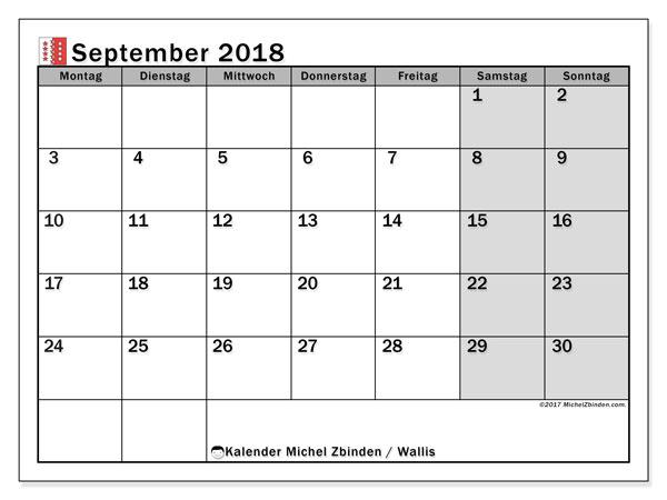 Kalender für September 2018, , mit Feiertagen des Kantons Wallis. Kalender zum kostenlosen ausdrucken.