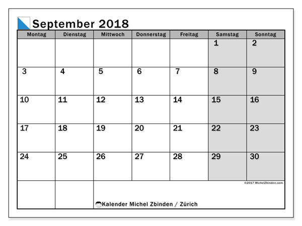 Kalender für September 2018, , mit Feiertagen des Kantons Zürich. Kostenloser Planer zum ausdrucken.