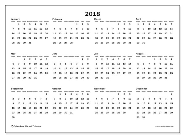 Calendar 2018 (32SS). Free printable yearly calendar.