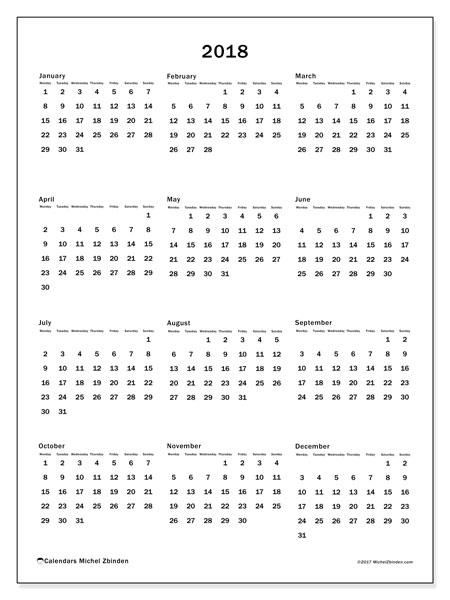 Calendar 2018 (33MS). Annual calendar to print free.