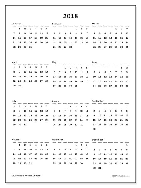 Calendar 2018 (33SS). Free printable annual calendar.