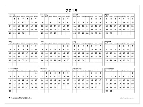 Calendar 2018 (34SS). Free printable yearly calendar.