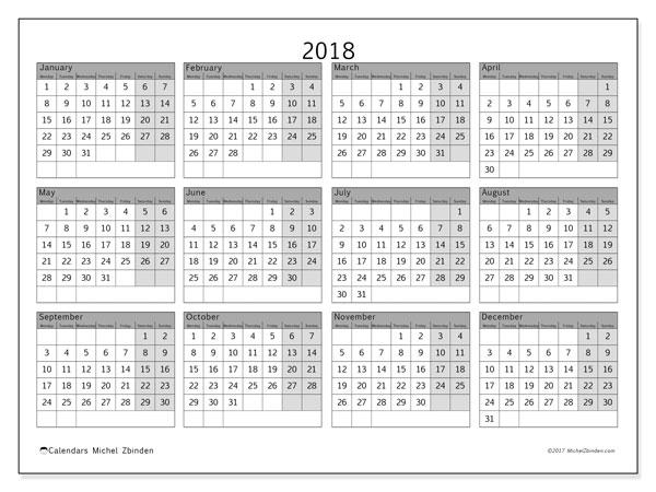 Calendar 2018 (35MS). Free printable yearly calendar.