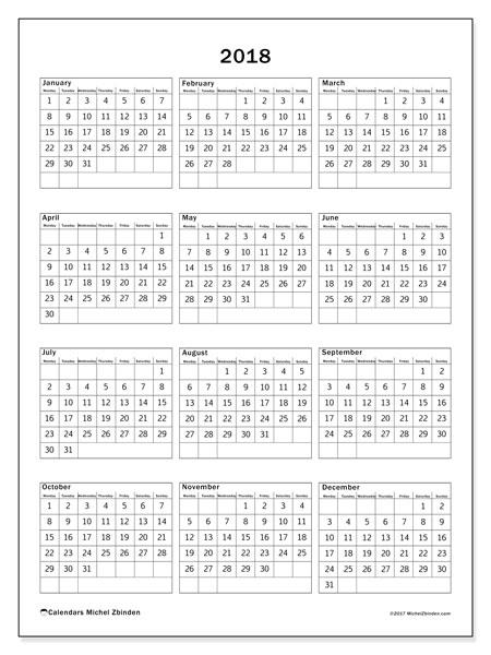 Calendar 2018 (36MS). Free printable calendar.