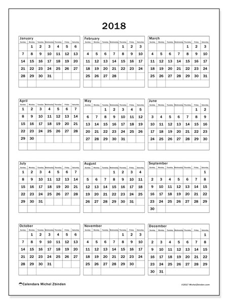 Calendar 2018 (36SS). Free printable calendar.