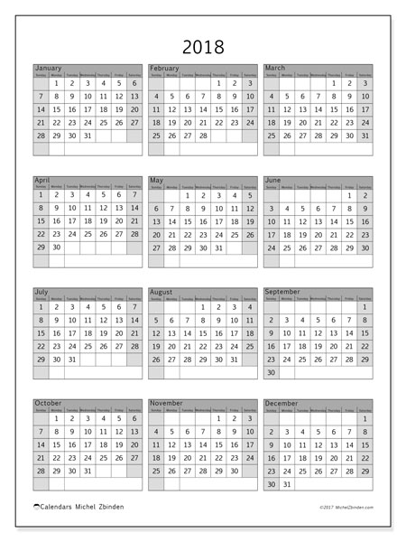 Calendar 2018 (37SS). Free printable yearly calendar.