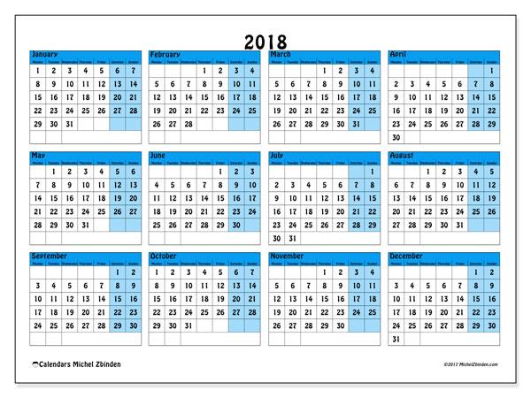 Calendar 2018 (39MS). Free printable calendar.