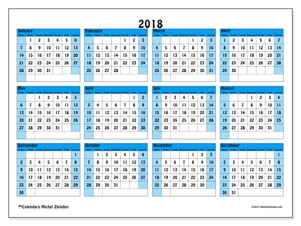 Calendar 2018 (39SS). Free printable yearly calendar.